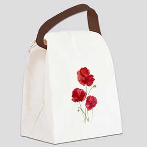 Watercolor Red Poppy Garden Flower Canvas Lunch Ba